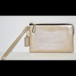 Coach Gold Pebbled Leather Wristlet NWOT